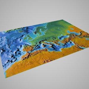 3d european maps model