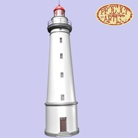 3d model lighthouse red