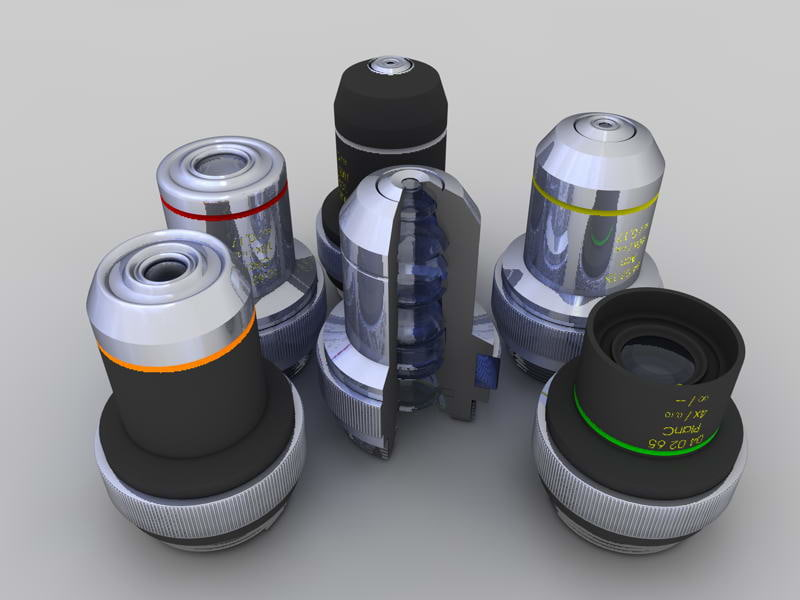 microscope objectives 3d model