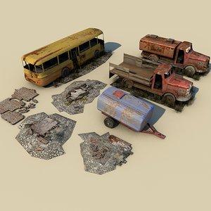 free weathered ruins bus truck 3d model
