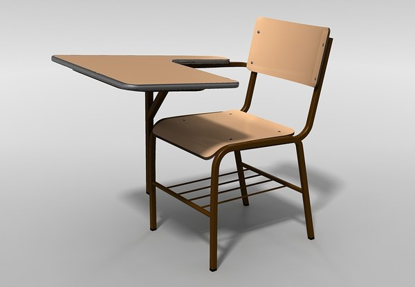 3dsmax school chair desk