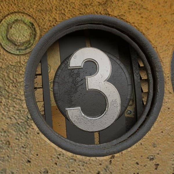 3d c4d rusted metal rotary counter