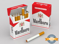3d model marlboro cigarette pack