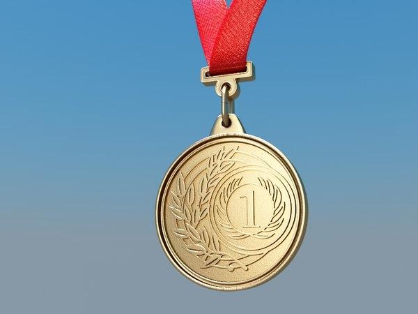 3d model golden medal gold