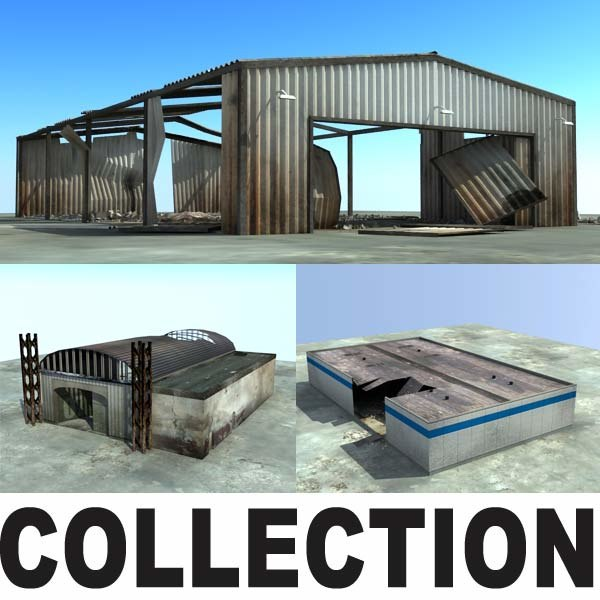 3d model derelict warehouses ruins collections