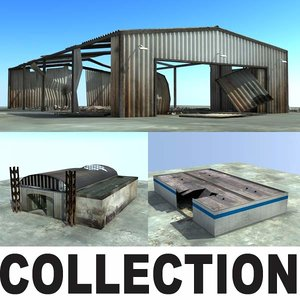 3d model derelict warehouses ruins collections