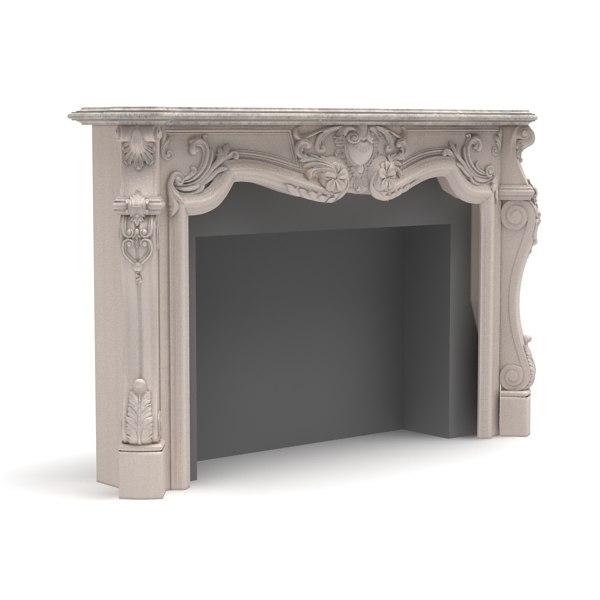 3d obj fireplace modelled 2009