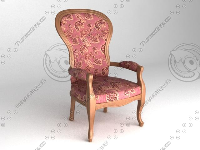 3d low-poly classical chair