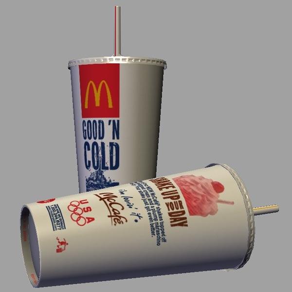 3d mcdonald beverage cup