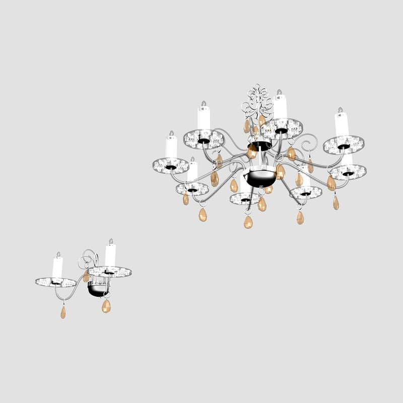 3d model making light chandelier wall lamp