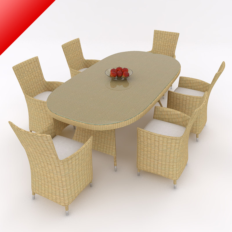 rattan dining table set 3d model
