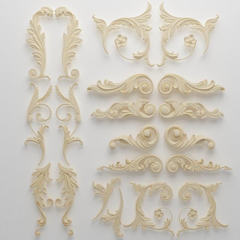 classical interior wall 3d model