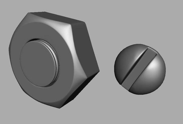 3d bolt head screw model