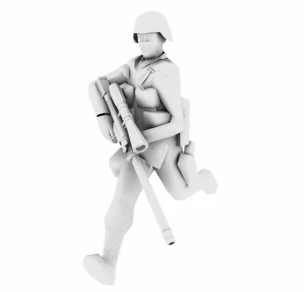 3d rigged soldier cycle animation