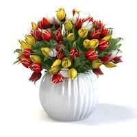 Tulip flower bouquet in the vase