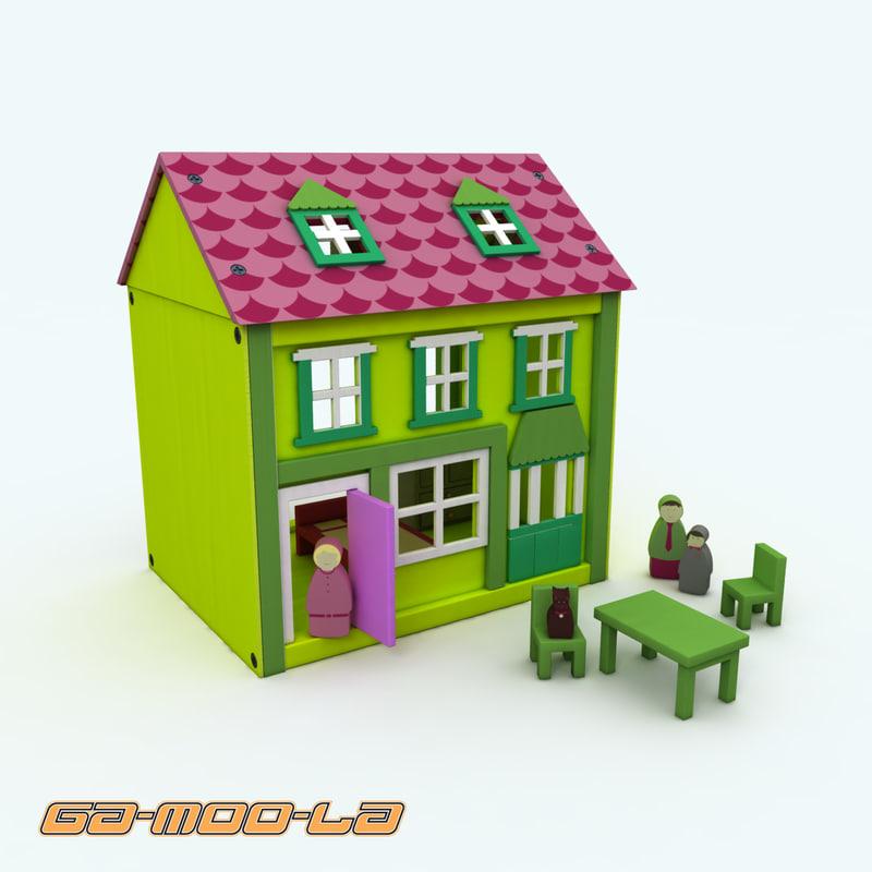 3d model wooden dolls house