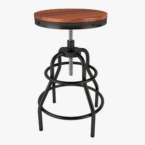 3d model industrial mansard stool
