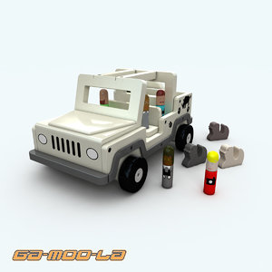 wooden toy jeep obj