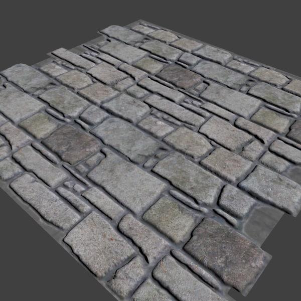 3d stones floor wall model