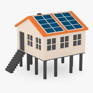 3d cartoon house solar panels model