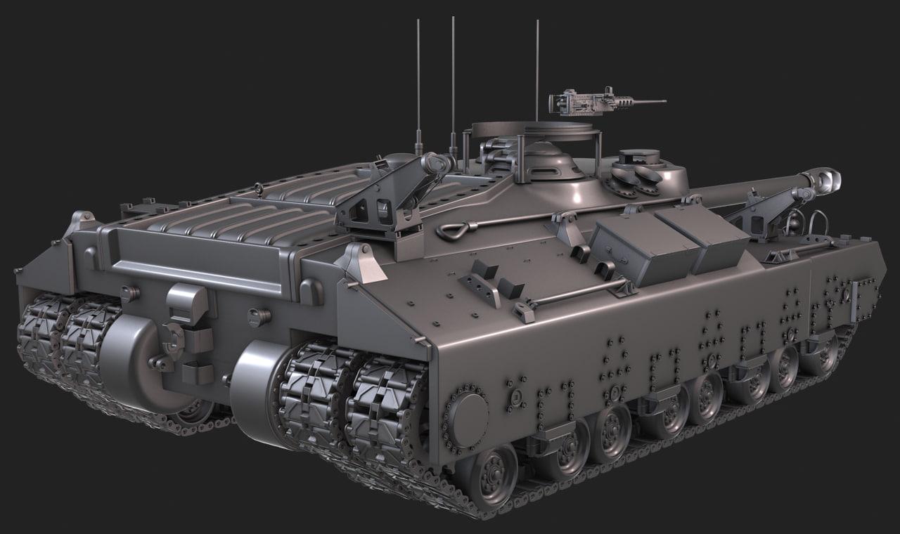3d t-28 tank highpoly model