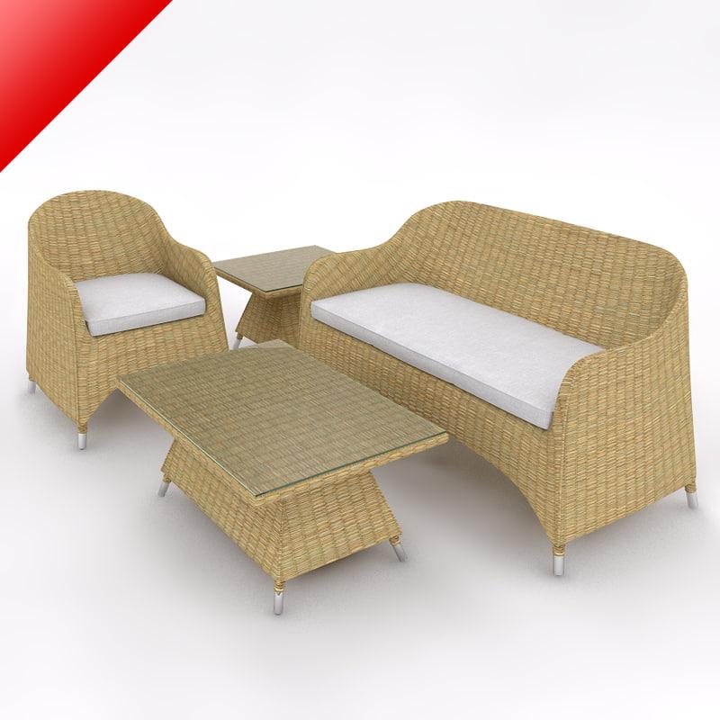 3d rattan lounge sofa set model