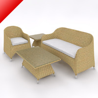 3d rattan lounge sofa set model