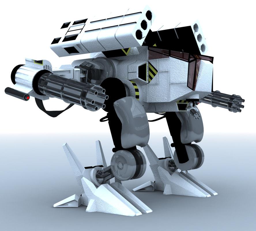 3d mech guns rocket