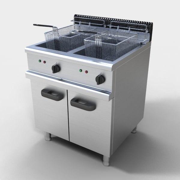 3d model commercial deep fryer