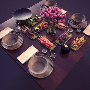 3d table set dinner