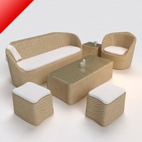 Rattan Lounge Sofa Set with Stool 01