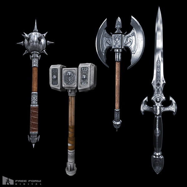 fantasy medieval weapons 3d model