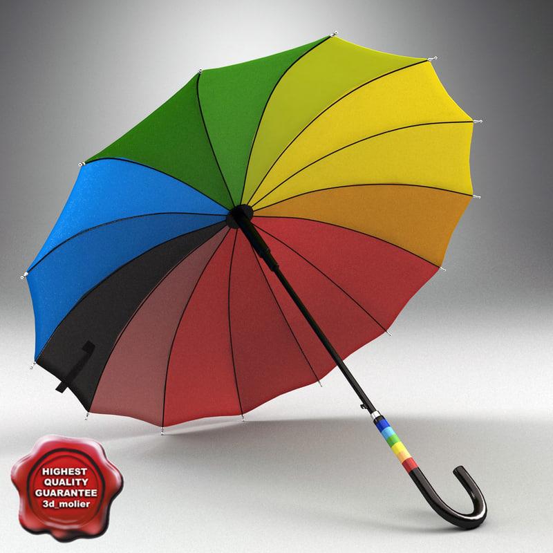 rainbow umbrella 3d c4d