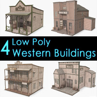 western buildings saloon bank 3d model