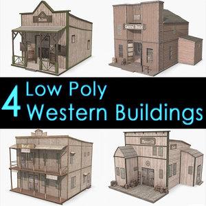 western buildings saloon bank 3d model
