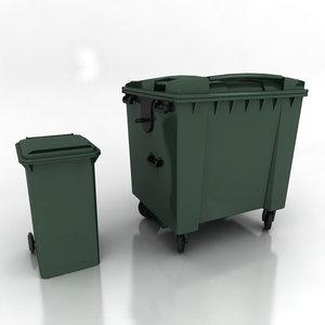 3d wheelie bins model