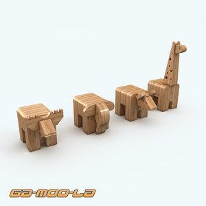 3d wooden toy animals