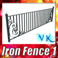 iron fence 01 resolution 3d model