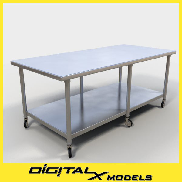 3d model commercial food prep table