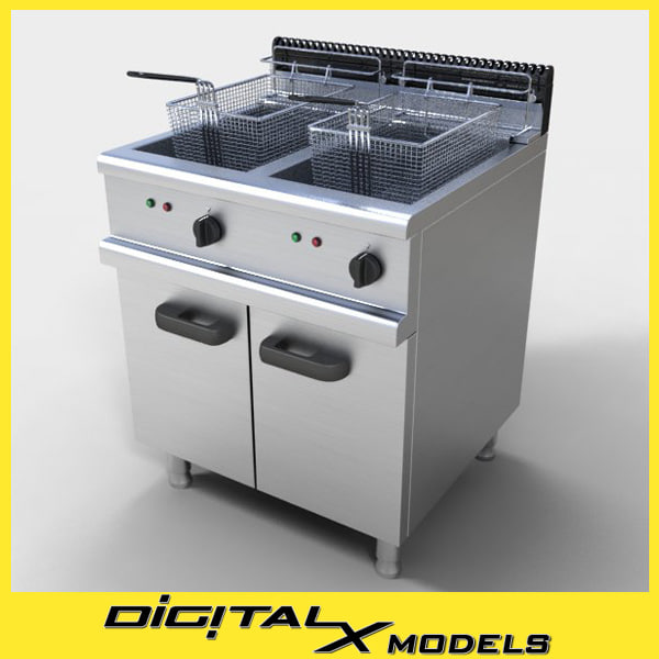 3d model commercial deep fryer