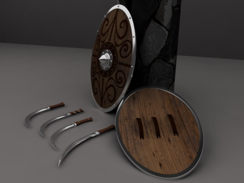 3d sica swords shield