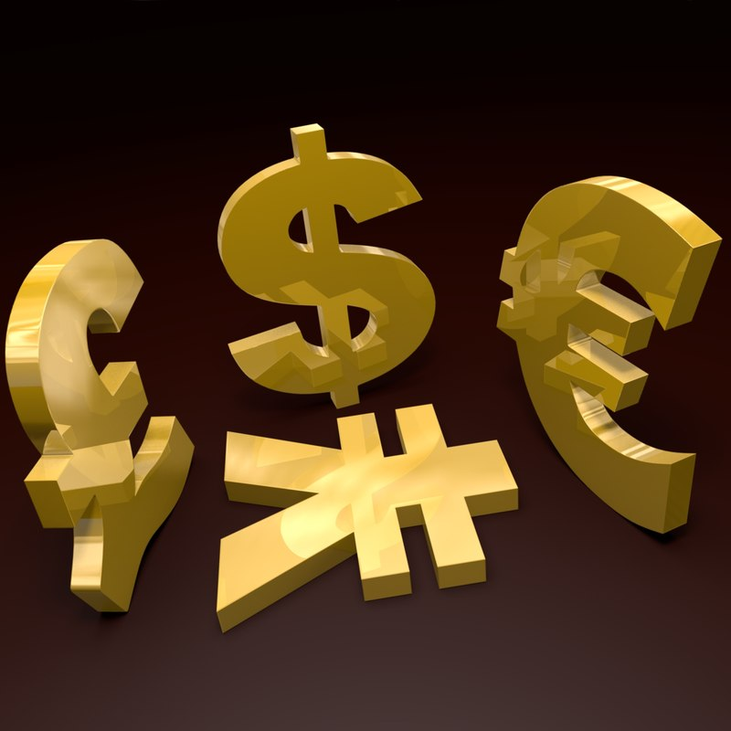 currency dollars euro 3d model