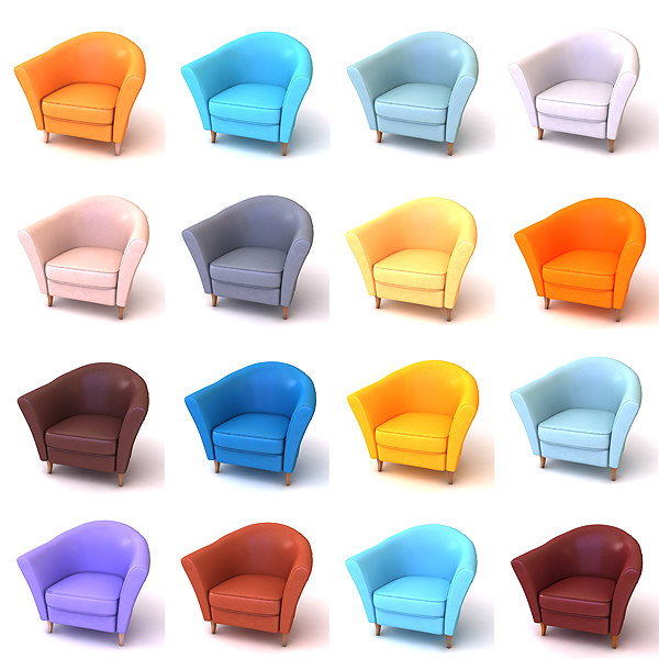 3d model of armchair 16 leather color