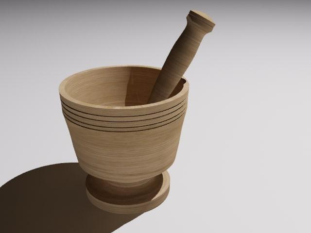 free max model wood mortar pestle