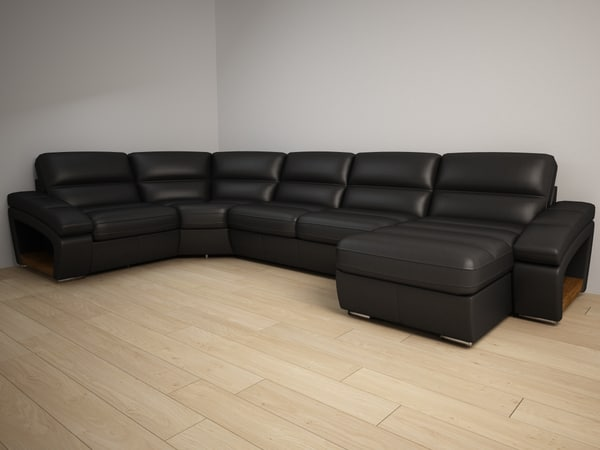3d model corner couch leather
