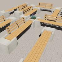 modular bench 3d model
