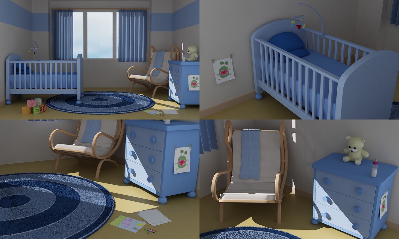 cartoon baby nursery 3d model