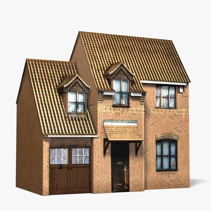3d brick house model