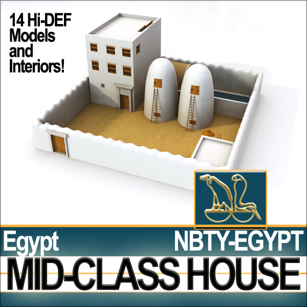 3d model ancient egyptian complete house interiors