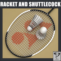badminton racket shuttlecock 3d obj